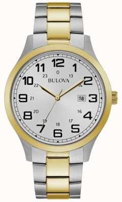 Bulova Mens robe montre deux tons bracelet en acier inoxydable 98B304