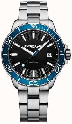 Raymond Weil Montre en acier inoxydable à lunette bleue Tango 8260-ST3-20001