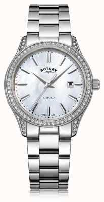 Rotary Womens oxford blanc en acier inoxydable montre à quartz LB05092/41
