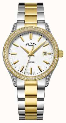 Rotary Womens oxford deux tons en acier inoxydable montre à quartz LB05093/02