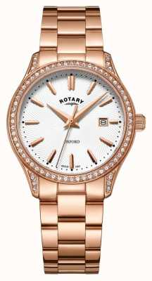 Rotary Womens oxford rose or en acier inoxydable montre à quartz LB05096/02