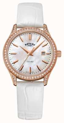 Rotary Womens oxford en cuir bracelet en or rose à quartz LS05096/41