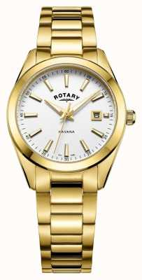 Rotary Womens havana plaqué or blanc montre LB05081/02
