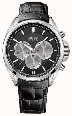 Hugo Boss Montre chronographe en cuir noir pour homme 1512879