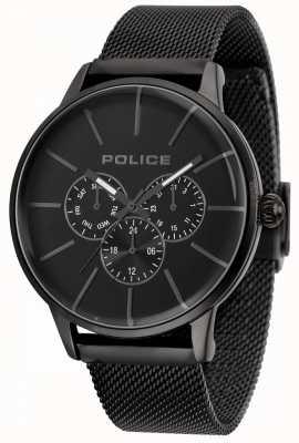 Police Mens swift bracelet en maille noire cadran noir 14999JSB/02MM