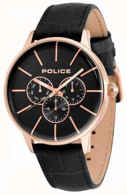 Police Mens seift bracelet en cuir noir cadran noir 14999JSR/02