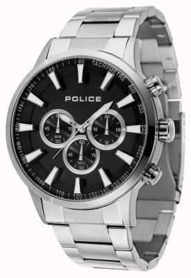 Police Bracelet en acier inoxydable avec cadran noir et cadran noir 15000JS/02M
