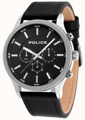 Police Bracelet noir en cuir noir avec cadran noir 15002JS/02