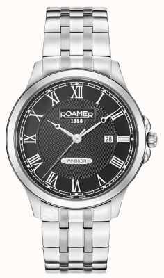 Roamer Hommes windsor noir cadran en acier inoxydable bracelet 706856415270