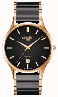 Roamer Montre en céramique noire c-line pour homme en or rose 657833495560