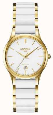 Roamer Womens c-line montre en céramique blanche boîtier en or 657844482560