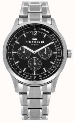 Ben Sherman Bracelet en argent pour homme noir cadran multifonction WB073BSM