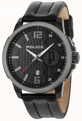 Police Boîtier noir pour homme noir cadran noir bracelet en cuir 15238JSBU/02