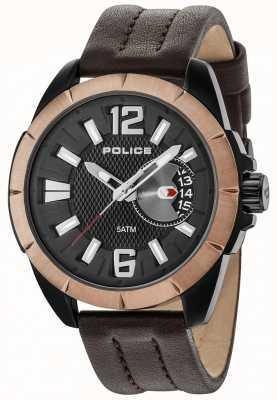 Police Boitier brun pour homme en cuir noir avec cadran noir 15240JSBBN/02