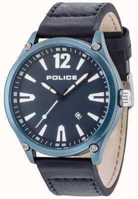 Police Étui bleu denton pour homme, cadran bleu, bracelet en cuir 15244JBBL/03