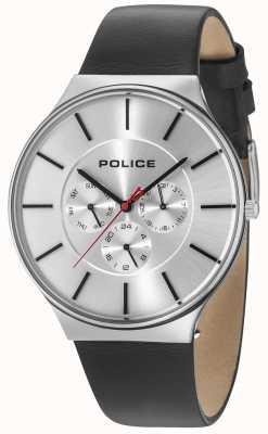 Police Boîtier argenté Seattle cadran argenté bracelet en cuir noir 15044JS/04