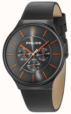 Police Boîtier noir Seattle cadran gris bracelet en cuir noir 15044JSB/13A