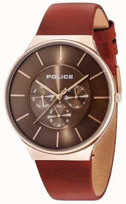 Police Boîtier en or rose Seattle cadran marron bracelet en cuir marron 15044JSR/12