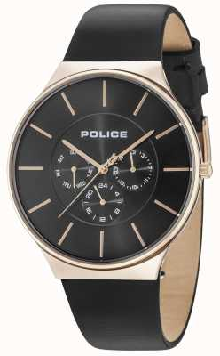 Police Boîtier en or rose Seattle cadran noir bracelet en cuir noir 15044JSR/02