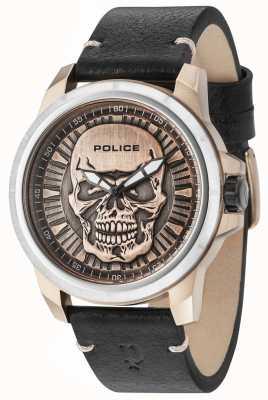 Police Bracelet en cuir noir Reaper avec cadran en bronze 14385JSTR/62