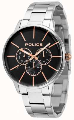 Police Bracelet Swift en acier inoxydable avec cadran noir 14999JS/02M