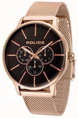 Police Bracelet en maille or rose Swift avec cadran noir 14999JSR/02MM