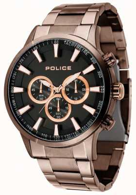 Police Bracelet brun Momentum avec cadran noir 15000JSBN/02M