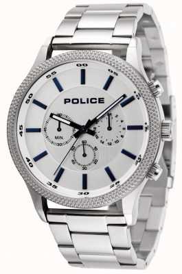 Police Bracelet en acier inoxydable avec cadran argenté 15002JS/04M