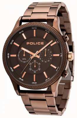 Police Bracelet marron clair avec cadran gris 15002JSBN/13M