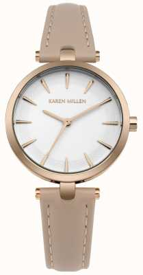 Karen Millen Cadran blanc mat, boîtier en or rose KM153CRG
