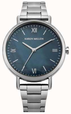 Karen Millen Bracelet en nacre bleue avec bracelet en acier inoxydable KM159USM