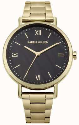 Karen Millen Bracelet en acier inoxydable avec cadran noir nacré KM159BGM