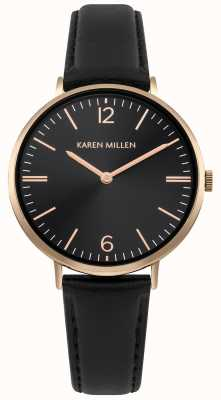 Karen Millen Cadran noir sunray avec bracelet en cuir noir KM163BRG