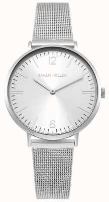 Karen Millen Cadran blanc soleil avec bracelet en acier inoxydable argent KM163SM