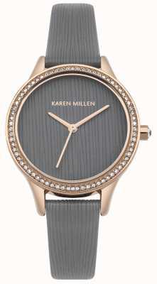 Karen Millen Cadran texturé en cuir gris KM165ERG