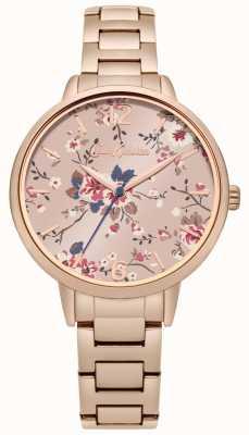 Cath Kidston Bracelet en or rose avec un cadran rose floral CKL038RGM