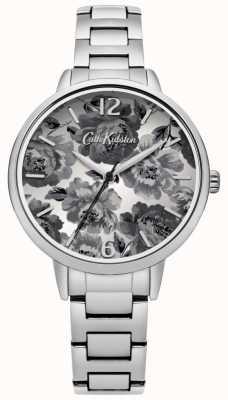 Cath Kidston Bracelet en argent noir et blanc à cadran floral CKL038SM