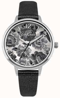 Cath Kidston Bracelet PU noir perlé avec cadran noir CKL038BS