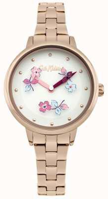 Cath Kidston Bracelet en or rose avec cadran blanc et imprimé fleuri CKL039RGM