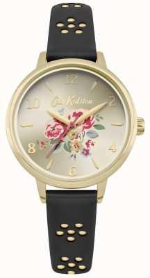 Cath Kidston Montre à bracelet floral en or avec découpe florale noire CKL043BG