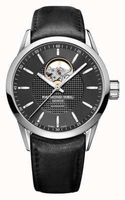 Raymond Weil Mens freelancer automatique bracelet en cuir noir cadran noir 2710-STC-20021