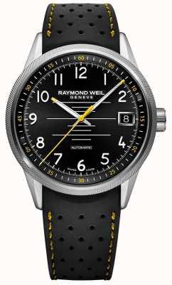 Raymond Weil Mens freelancer automatique bracelet en caoutchouc noir cadran noir 2754-SR-05200