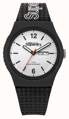 Superdry Cadran blanc bracelet en silicone noir SYG179WB