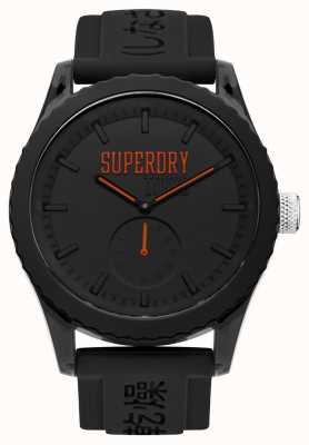 Superdry Cadran noir Tokyo orange mains bracelet en silicone noir SYG145BB