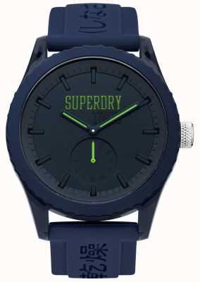 Superdry Cadran marine de Tokyo vert mains bracelet en silicone bleu SYG145UU