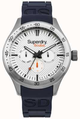 Superdry Cadran scuba à motif blanc, bracelet en silicone gaufré bleu SYG210U