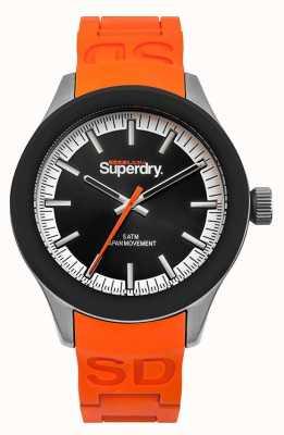 Superdry Scuba noir cadran bracelet en silicone orange SYG211O