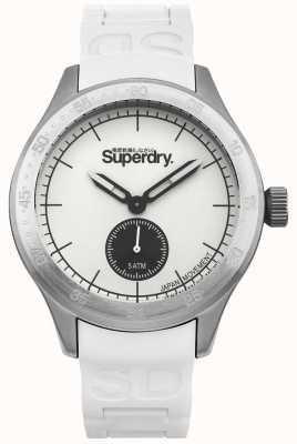 Superdry Cadran blanc argent boîtier en acier inoxydable bracelet en silicone blanc SYG212W