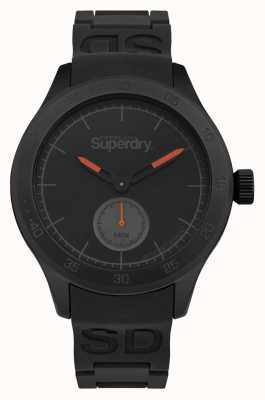 Superdry Boîtier noir bracelet noir en silicone noir SYG212BB