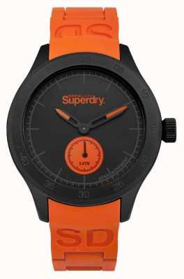 Superdry Scuba noir cadran bracelet en silicone orange SYG212OB